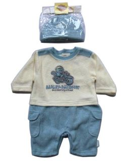 Harley Davidson Boys Infant Baby Apparel Outfit Set 2 Piece with Cap