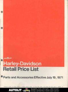1972 Harley Davidson Motorcycle Retail Parts List Book