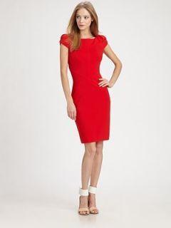 Auth Diane von Furstenberg Helen Cherry Red Cap Sleeve Dress SZ 0