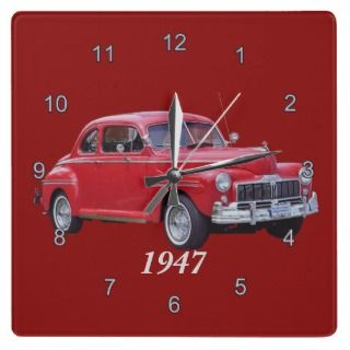 Classic 1947 Ford Mercury Car Collector Wall Clock