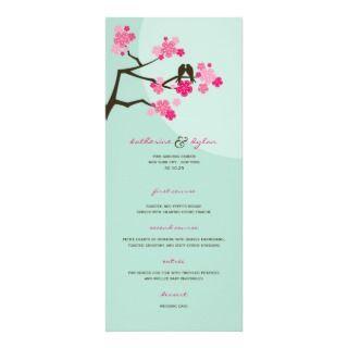 Cherry Blossoms Flowers Love Birds Wedding Menu Custom Invite