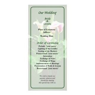 Pink and White Calla Lilies Wedding Program Custom Rack Card