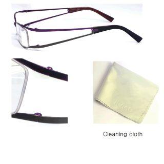 Halfrim Eyeglass Frame ID2002 Purple Green Soft Case