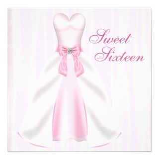 Pink Party Dress Pink Sweet 16 Birthday Party Personalized Invite