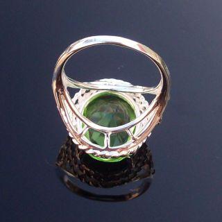 Ring Gift Silver Gemstone Ring Silver Green Quartz Ring Size 7