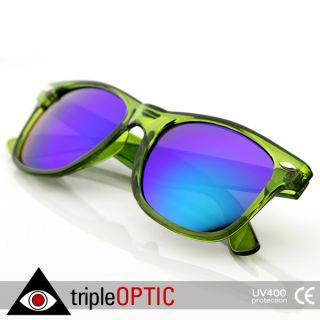 Retro Fashion Translucent See Through Colorful Wayfer Sunglasses Green