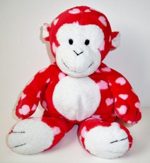 Ty Pluffies Red Pink Harts Hearts Monkey Plastic Eyes Dangles Plush