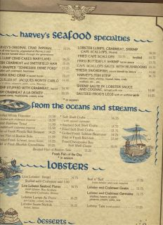 Harveys Restaurant of the Presidents Menu Washington DC 1980s