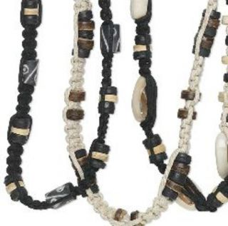Wholesale 6 Hemp Wood Ox Bone Surfer Boho Necklaces