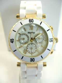 Ladies Henley Watch White Band & White Pearly Face New Design H472