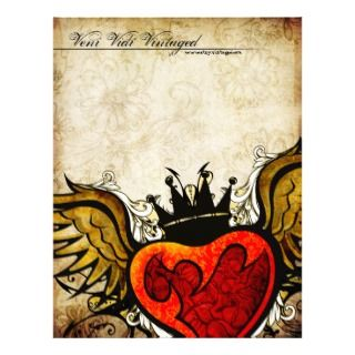 Vintage Urban Tattoo Winged Heart Letterhead