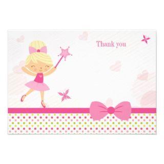 Cute pink ballerina girls birthday thank you card