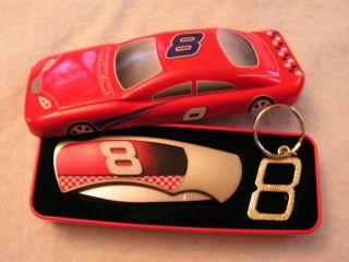 Dale Earnhardt Jr Car 8 Knife Keychain in Decorative Tin NEW