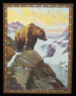 Herbert Denton 1920s Cabin Art Deco Gesso Framed Print Brown Bear