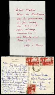 Henry Hathaway Group of 2 Vintage Signed Handwritten Note Watson Webb