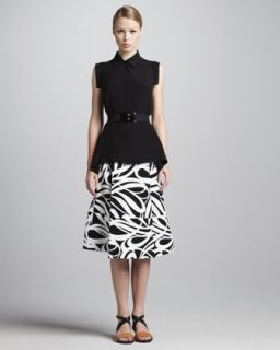 Marni Cap Sleeve Button Front Blouse, Graphic Print A Line Skirt