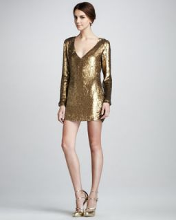 Haute Hippie Sequined V Neck Dress