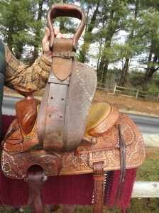 15 Seat Used Vintage Tex Tan Hereford Brand Tooled Western Saddle