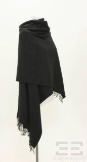 Hermes Black Cashmere & Wool Large Wrap Shawl