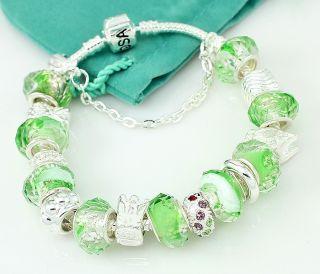 Hermosa Green Ananas Crystal Diamond Silver Bracelet 8