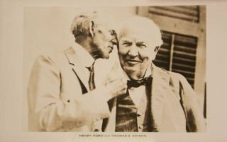 Henry Ford Thomas Edison 1900s Antique Postcard