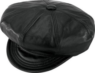 Henschel Large Gatsby Leather Biker Newsboy Driving Golf Hat Cap Brown