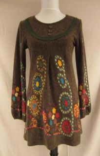 New Hazel Anthropologie Olive Flowers Retro Hippie Top Sweater Dress