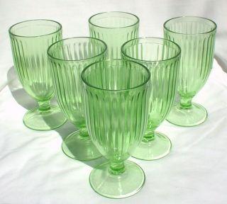 Parfaits Goblets Glasses Green Depression Hazel Atlas Sundae Footed