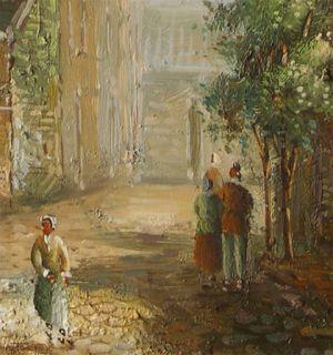 Herbert_Old Dutch Town Life_Original Oil Painting+Wood Frame