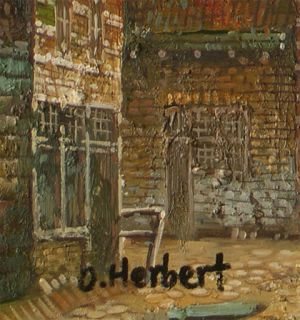 Herbert_Old Dutch Town Life_Original Oil Painting+Wood Frame