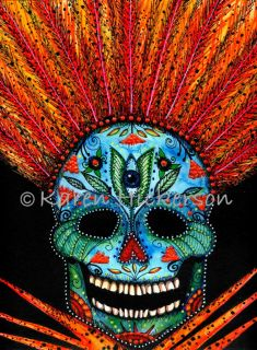 Karen Hickerson Day of The Dead Sugar Skull Modern Folk Art Clown