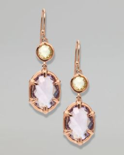 Y11CE Ippolita Two Stone Drop Earrings, Rose Gold