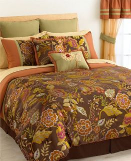 Heritage Floral Brown Orange Floral 24P Queen Bed Set