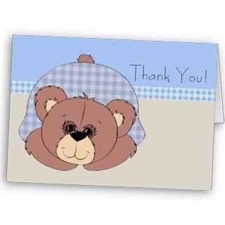 Boy thank you cards. Teddy bear baby thank you cards. Baby boy thank