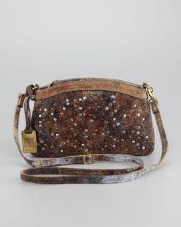 V1ACS Frye Brooke Stud Envelope Clutch Bag, Chocolate