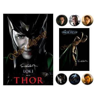 Tom Hiddleston Posters Big A4 6 Badges Gift Pack Thor Loki Anengers