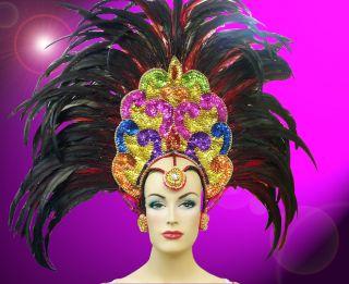 Showgirl Drag Carnival Cabaret Dance Costume Sequin Feather Headdress