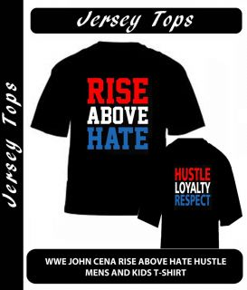 WWE John Cena Rise Above Hate Hustle T Shirt Top Quality Fruit of The