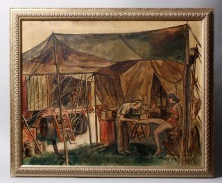 ROBERT HERZBERG LISTED AMERICAN CIRCUS TENT WPA SIGNED ORIGINAL OIL