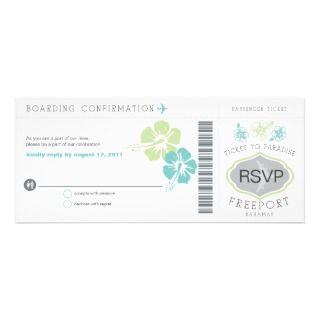 Bahamas Boarding Pass Wedding RSVP Custom Invites