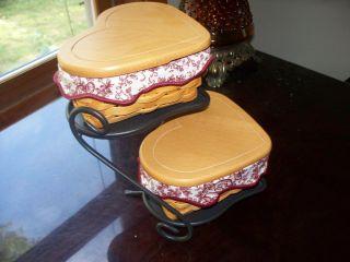 Longaberger Little Love Heart Baskets with Stand Lids