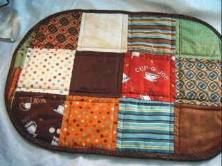 Coffee Print Fabric Collection Placemats Reversible Quilted PMO03