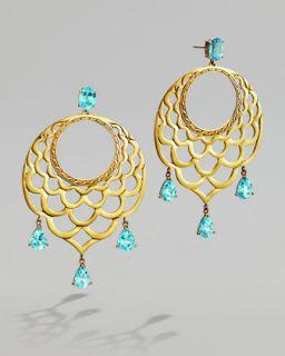 Y1E17 John Hardy Blue Topaz & Gold Lace Hoop Earrings
