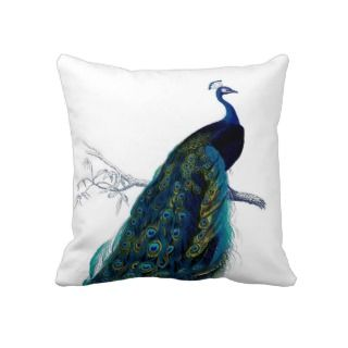 Vintage Blue Elegant Colorful Peacock Pillow