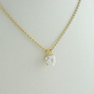 14kt gold ep 2ct heart shaped cz solitaire pendant