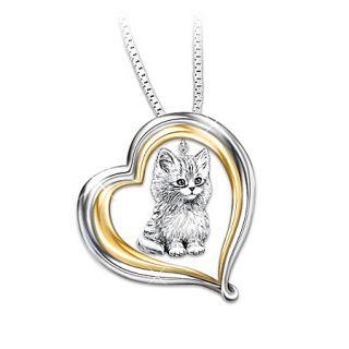 Purr fect Companion Heart Shaped Keepsake Cat Pendant Necklace