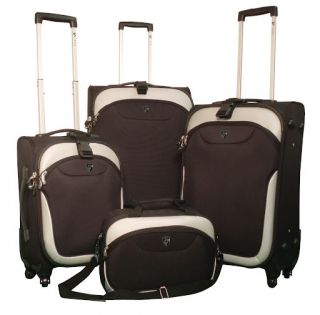 Heys EZ 4 Wheeler Expandable Spinner Luggage Set Black