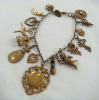 Vintage Bronze Tone Hidden Heart Romance Love Themed Charm Bracelet 7