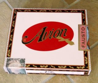 empty AVION FAUSTO CIGAR BOX by Tatuaje, papered wooden box ExCond