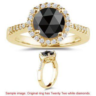 0.81 0.88 Cts Black & White Diamond Ring in 18K Yellow